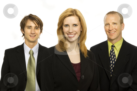 Business people stand together stock photo, Three business people stand together by Rick Becker-Leckrone