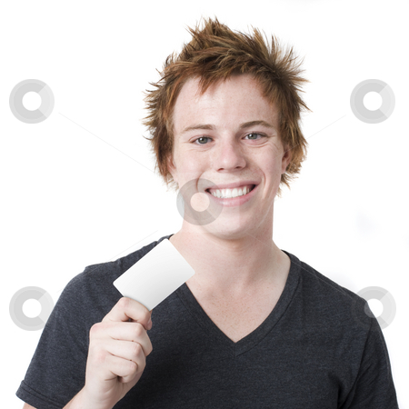 Smiling boy with card stock photo, Boy with credit card smiles by Rick Becker-Leckrone