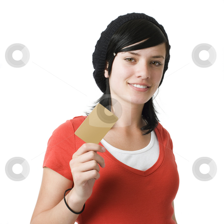 Girl with credit card stock photo, Girl with credit card and smiles by Rick Becker-Leckrone