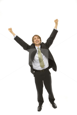 Businessman expresses triumph stock photo, Businessman in a suit raises his arms in triumph by Rick Becker-Leckrone