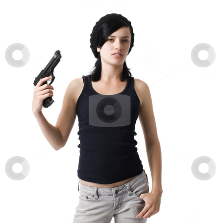 Girl with gun stock photo, Girl with gun grimmaces and gestures by Rick Becker-Leckrone