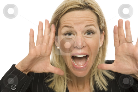 Businesswoman yells stock photo, Businesswoman in a suit yells and gestures with her hands by Rick Becker-Leckrone