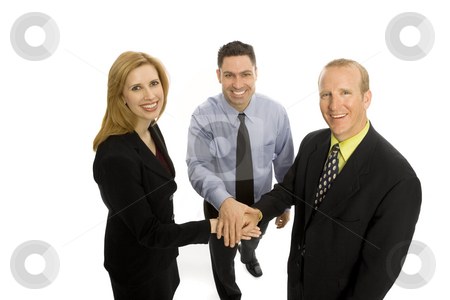 Business people gesture teamwork stock photo, Three business people gesture teamwork by Rick Becker-Leckrone