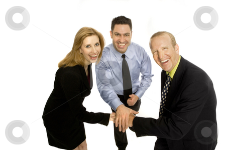 Business people gesture teamwork stock photo, Three business people gesture teamwork with their hands by Rick Becker-Leckrone