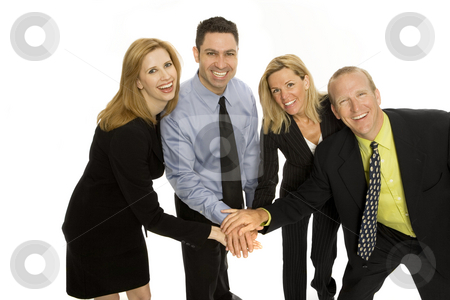 Business people gesture teamwork stock photo, Four business people gesture teamwork together by Rick Becker-Leckrone