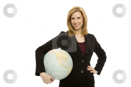 Businesswoman with globe stock photo, Businesswoman in a suit holds a blobe with confidence by Rick Becker-Leckrone