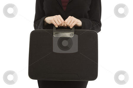 Businesswoman with black briefcase stock photo, Businesswoman in a suit holds a black briefcase by Rick Becker-Leckrone