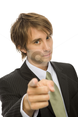 Businessman gestures with finger stock photo, Businessman in a suit gestures with his finger by Rick Becker-Leckrone