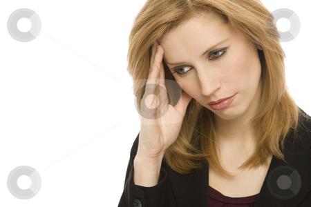 Businesswoman with headache stock photo, Businesswoman with headache holds her head by Rick Becker-Leckrone