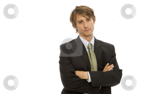 Businessman crosses arms stock photo, Businessman in suit crosses his arms with confidence by Rick Becker-Leckrone