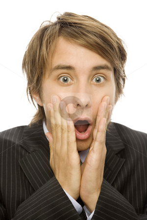 Businessman in shock stock photo, Businessman in suite gestures shock and slaps his face by Rick Becker-Leckrone