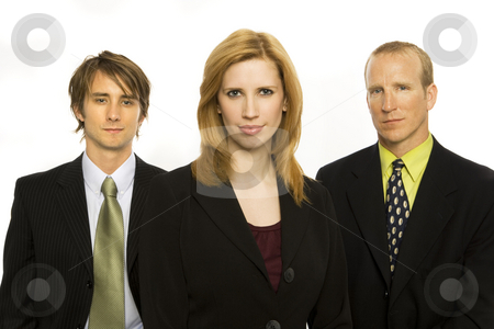 Business workers stand together stock photo, Three business workers stand together by Rick Becker-Leckrone