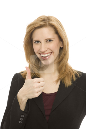 Businesswoman gestures thumbs-up stock photo, Businesswoman gestures a thumbs up by Rick Becker-Leckrone