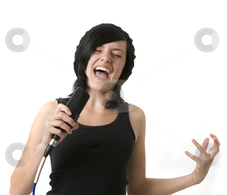 Girl sings and gestures stock photo, A girl sings and gestures by Rick Becker-Leckrone