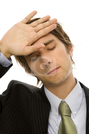 Tired Businessman stock photo, Businessman holds his hand to his head with exhaustion by Rick Becker-Leckrone