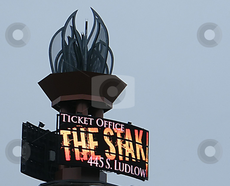 The Stak Sign stock photo, The Stak Sign (a modern landmark) , The Stak is a well known Columbus Ohio Ticket Office on Ludlow Street in Columbus. They sell tickets to all sorts of events (concerts, fights, shows etc.). Their sign towers high above the Streets near Downtown Columbus. by Dazz Lee Photography