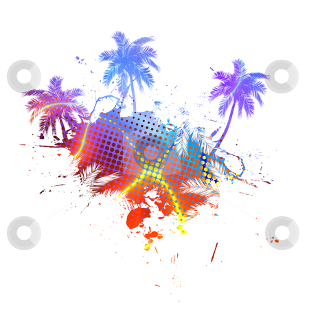 Colorful Palm Trees Grunge on white stock photo, Grungy tropical palm tree graphic with lots of splatter. by Todd Arena