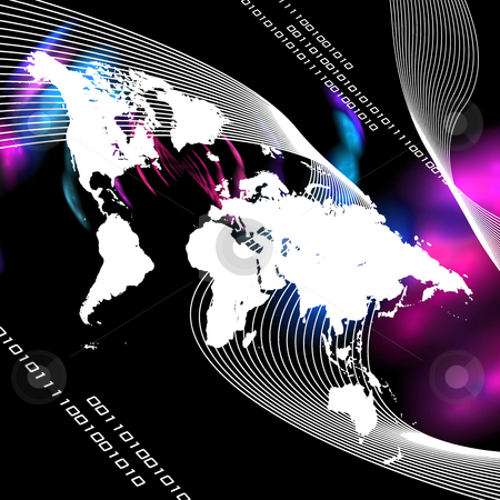 Worldwide Montage stock photo, A world map montage with binary code. This image works great for business internet communications and more. by Todd Arena