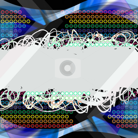 Rainbow Scribbles stock photo, Abstract scribbles layout over a rainbow colored circles texture. by Todd Arena
