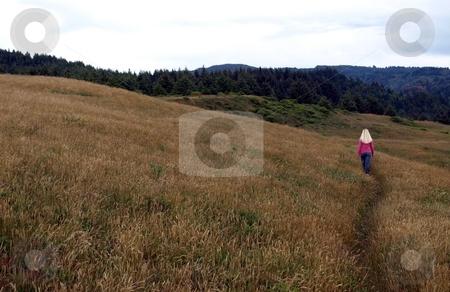 Girl walking on open grassy hillside 682A stock photo, Girl walking along path on open grassy hillside by Jill Reid