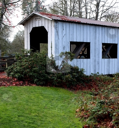 Centenniial covered bridge stock photo, View of the Centennial covered bridge in Cottage Grove, Oregon by Jill Reid