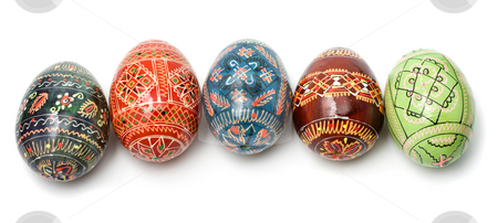 Easter eggs stock photo, Five Easter eggs decorated differentely isolated on white by Natalia Macheda