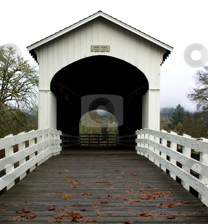 Currin bridge entrance stock photo, View of the Currin covered bridge in Cottage Grove, Oregon by Jill Reid