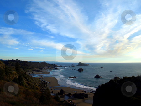 Cloud pattern over coastline stock photo, Panoramic view of cloudy sky over Oregon coastline by Jill Reid
