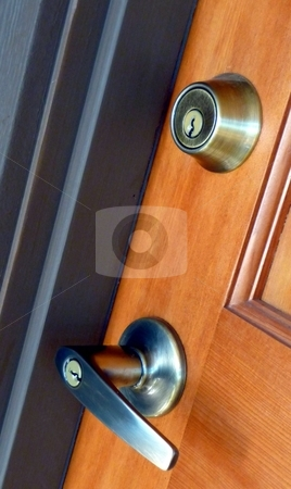 Lever security handle and lock stock photo, Contempoary lever door handle and deadbolt lock by Jill Reid