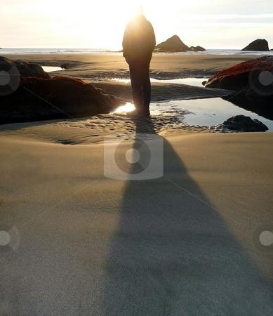 Man casts shadow on the beach stock photo, An adult man casts a long shadow on the beach by Jill Reid