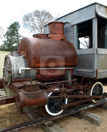Antique train engine and car stock photo, Vintage and antique train engine and car by Jill Reid