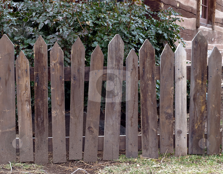 Weathered wooden picket fence  stock photo, Wooden picket fence  weathered by time by Jill Reid