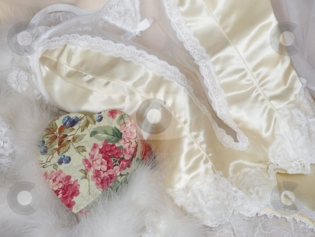Silk and lace lingerie with floral heart stock photo,  by Jill Reid