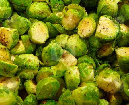 Fresh steamed and seasoned brussels sprouts stock photo, Fresh steamed and seasoned brussels sprouts vegetables by Jill Reid
