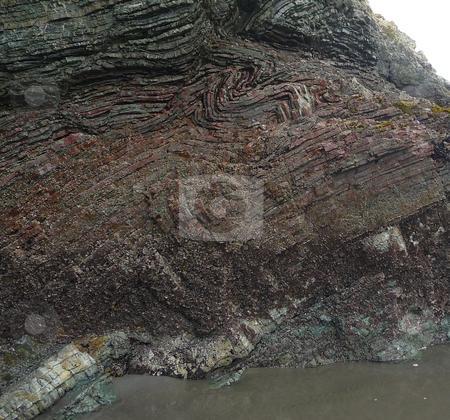 Close-up of Rainbow Rock layers stock photo, Close-up of the colorful layers of Rainbow Rock in Oregon by Jill Reid