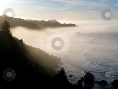 Misty morning coastline stock photo, Mist gathers along the shore in the early morning by Jill Reid