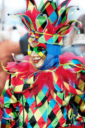Venice joker stock photo, Portrait of multicolored venetian mask of smiling joker by Natalia Macheda