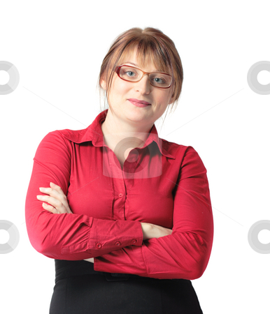 Attractive businesswoman stock photo, Attractive businesswoman isolated over white background by Natalia Macheda