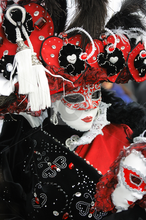 Red-black-white carnival garment stock photo, Venetian mask in red-black-white garment with precious gems by Natalia Macheda