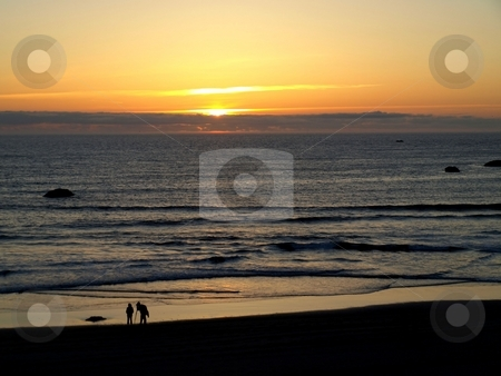Silhouettes on the beach at sunset stock photo, Silhouettes on the beach at sunset in Oregon by Jill Reid