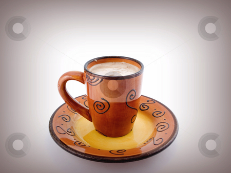 Hot Chocolate on white stock photo, Hot Chocolate on a plate with white background by John Teeter