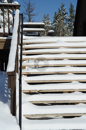 Snow Covered Stairs stock photo, Fresh snow covering the outside stairs at a countryside building by Lynn Bendickson