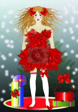 X-Mas Minny stock photo, Image 'Flower Girls', Dress made of red Poinsettia, standingon a red circle in front of a tree with falling Snow, 2062x2953,23,2, 300 dpi by Ute Wingenfeld