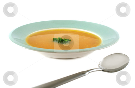 Pumpkin Soup stock photo, Profile view of pumpkin soup with parsley and spoon. by Brett Mulcahy