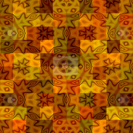 Warm batik rags pattern stock photo, Texture with abstract motifs on yellow to orange squares by Wino Evertz