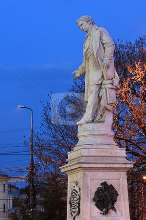 Statue of Ion Heliade Radulescu stock photo, Statue of Ion Heliade Radulescu in Bucharest, University Square. Night shot (blue hour) by Mihai Zaharia