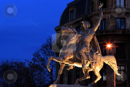 Statue of Mihai Viteazu stock photo, Statue of Mihai Viteazu in Bucharest, University Square. Night shot (blue hour) by Mihai Zaharia