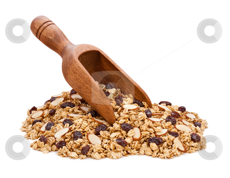 Granola, Almonds, and Raisins stock photo, Granola, Almonds, and Raisins isolated on white by Danny Smythe