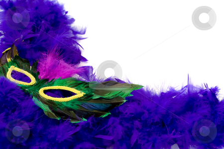 Feather Mask stock photo, A feather frame with a mask, isolated against a white background by Richard Nelson