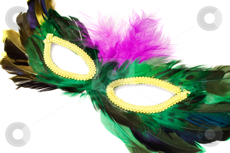 Closeup Masquerade Mask stock photo, Closeup view of a feathered masquerade mask, isolated against a white background by Richard Nelson